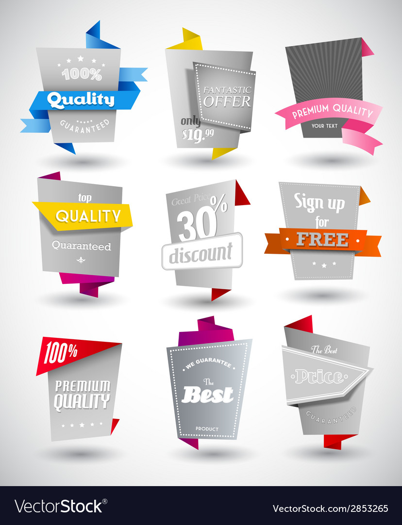 Set of grey paper labels with colored parts vector   Price: 1 Credit (USD $1)
