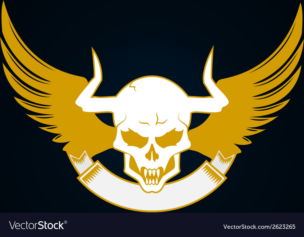 Skull with horns wings and emblem template vector | Price: 1 Credit (USD $1)