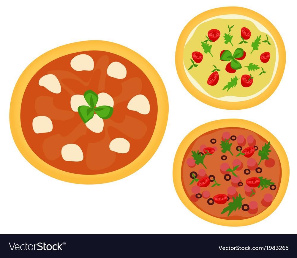 Three italian pizzas vector | Price: 1 Credit (USD $1)