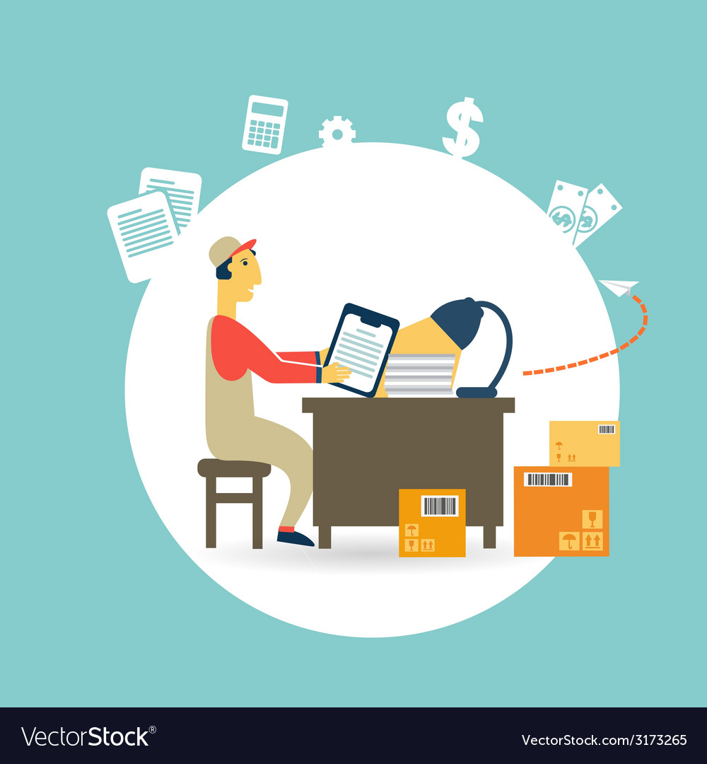 Worker checks the boxes vector | Price: 1 Credit (USD $1)