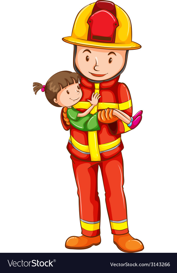 A drawing of a fireman rescuing a young girl vector | Price: 1 Credit (USD $1)