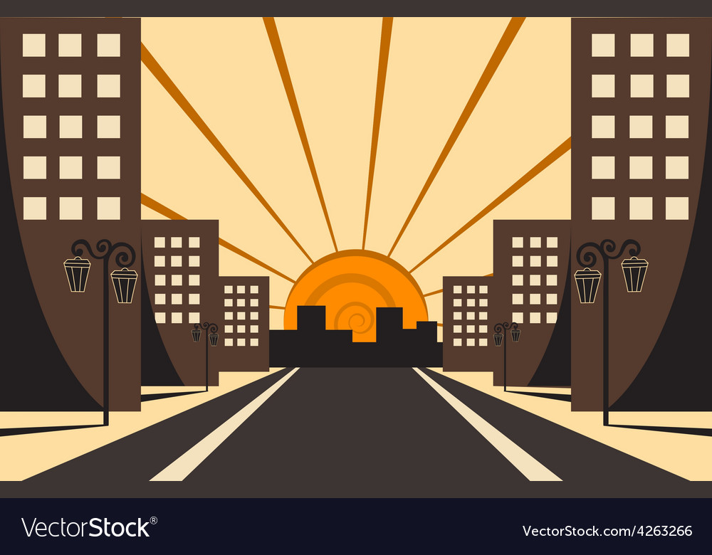 City sunrise vector | Price: 1 Credit (USD $1)
