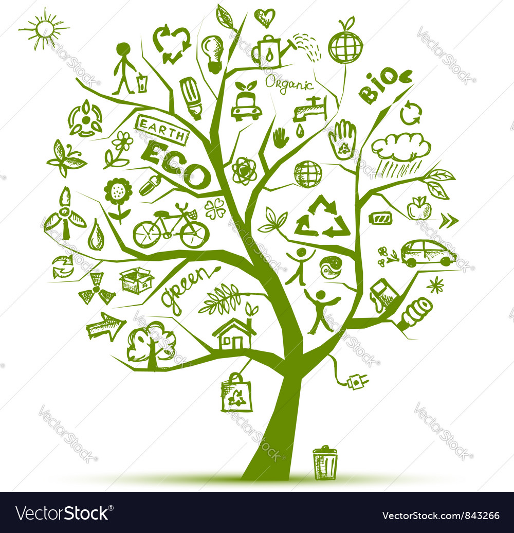 Eco green ecology tree vector | Price: 1 Credit (USD $1)