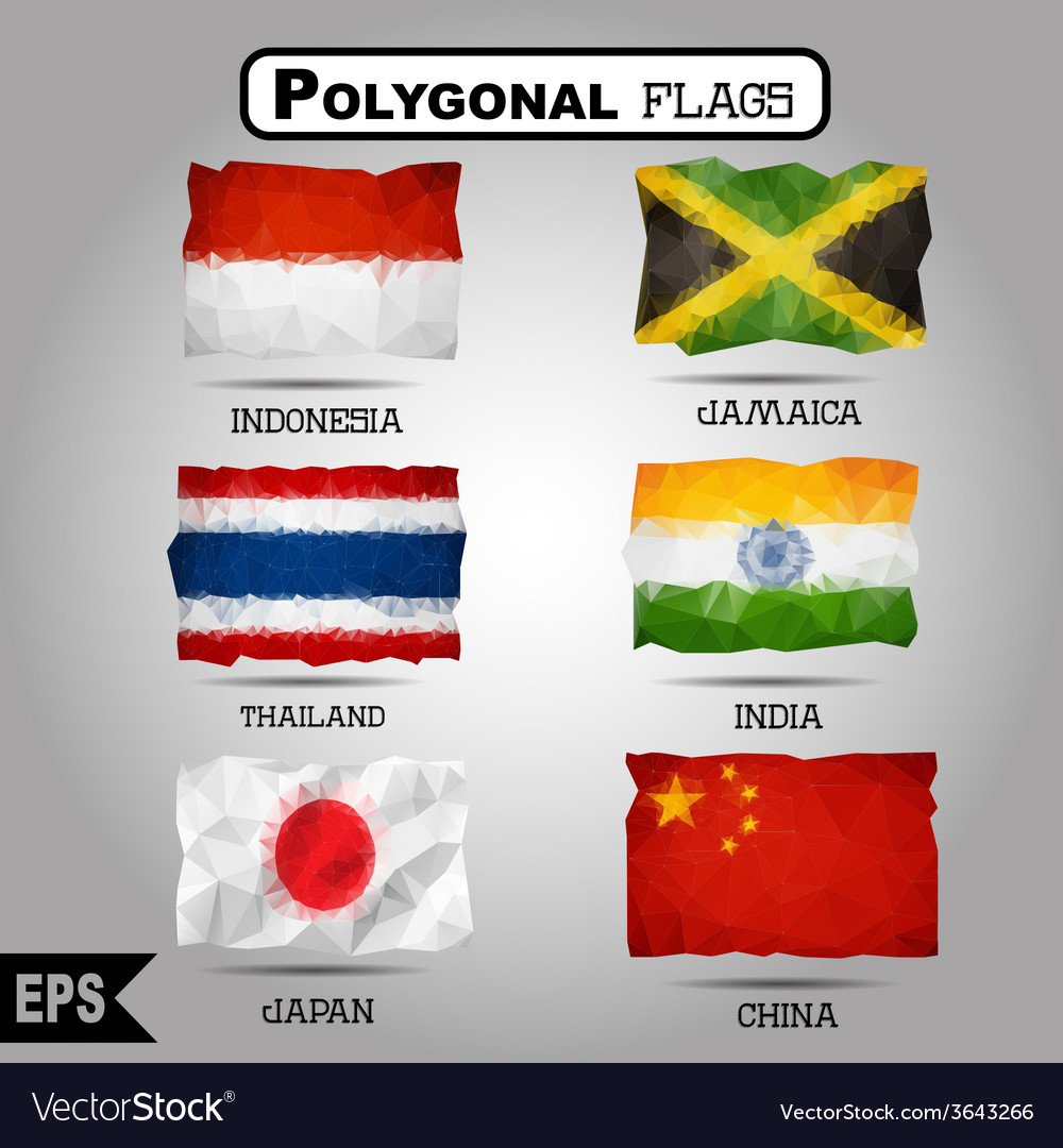 Geometric polygonal world flag collection vector | Price: 1 Credit (USD $1)