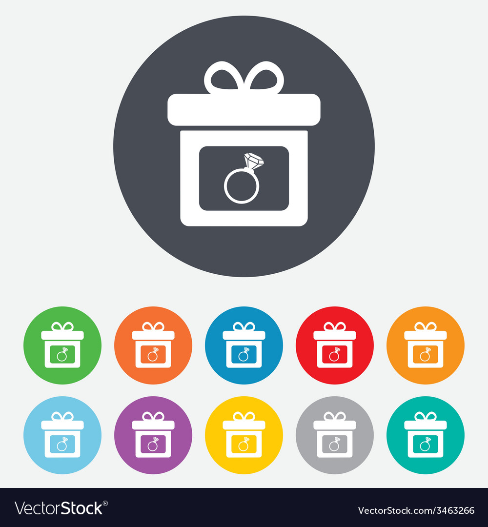 Gift box sign icon present symbol vector | Price: 1 Credit (USD $1)