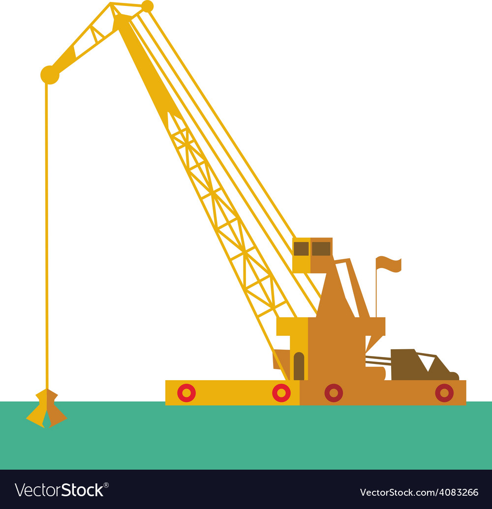 Huge crane barge industrial ship that digs sand vector | Price: 1 Credit (USD $1)