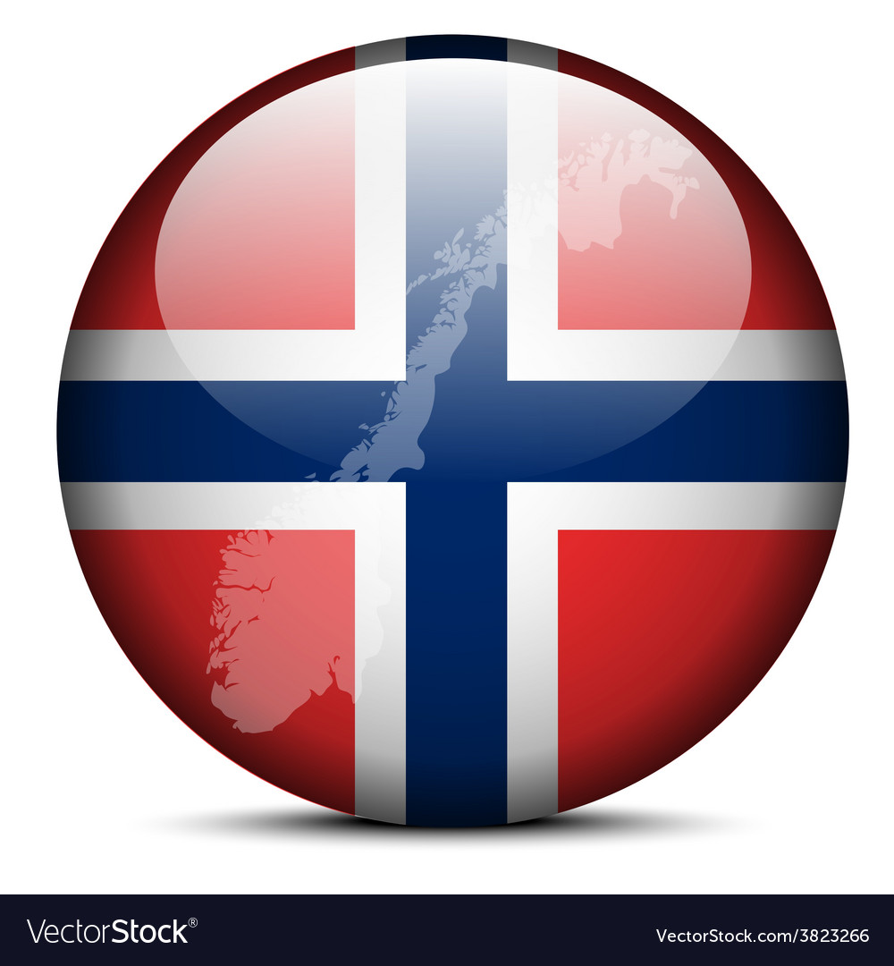 Map on flag button of kingdom of norway vector | Price: 1 Credit (USD $1)