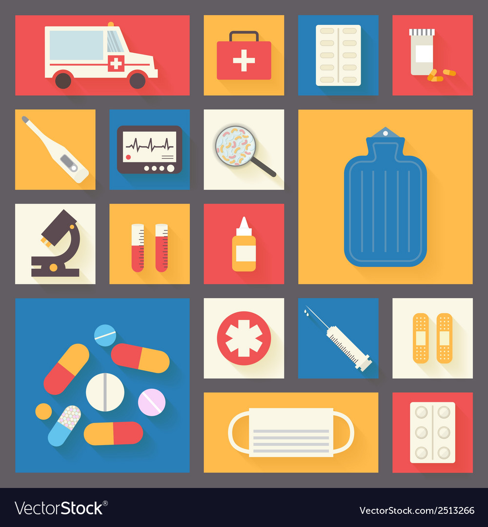 Medical icons set ambulance and pharmacy vector | Price: 1 Credit (USD $1)