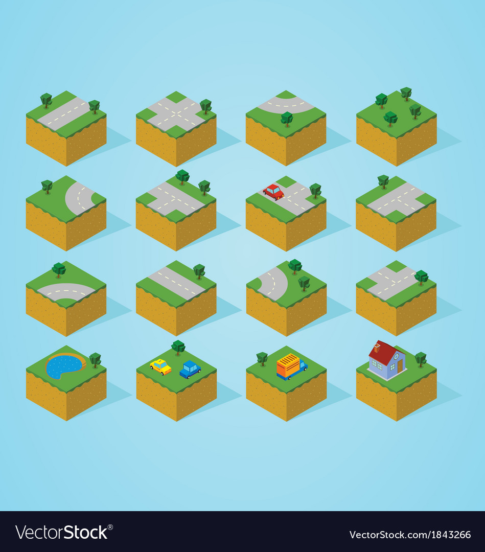 Pre assembly isometric road map vector | Price: 1 Credit (USD $1)