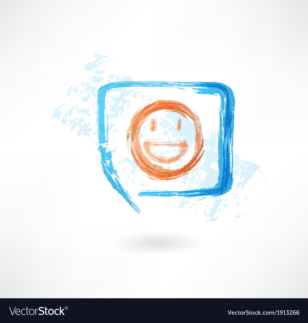 Smile in speech bubble grunge icon vector | Price: 1 Credit (USD $1)