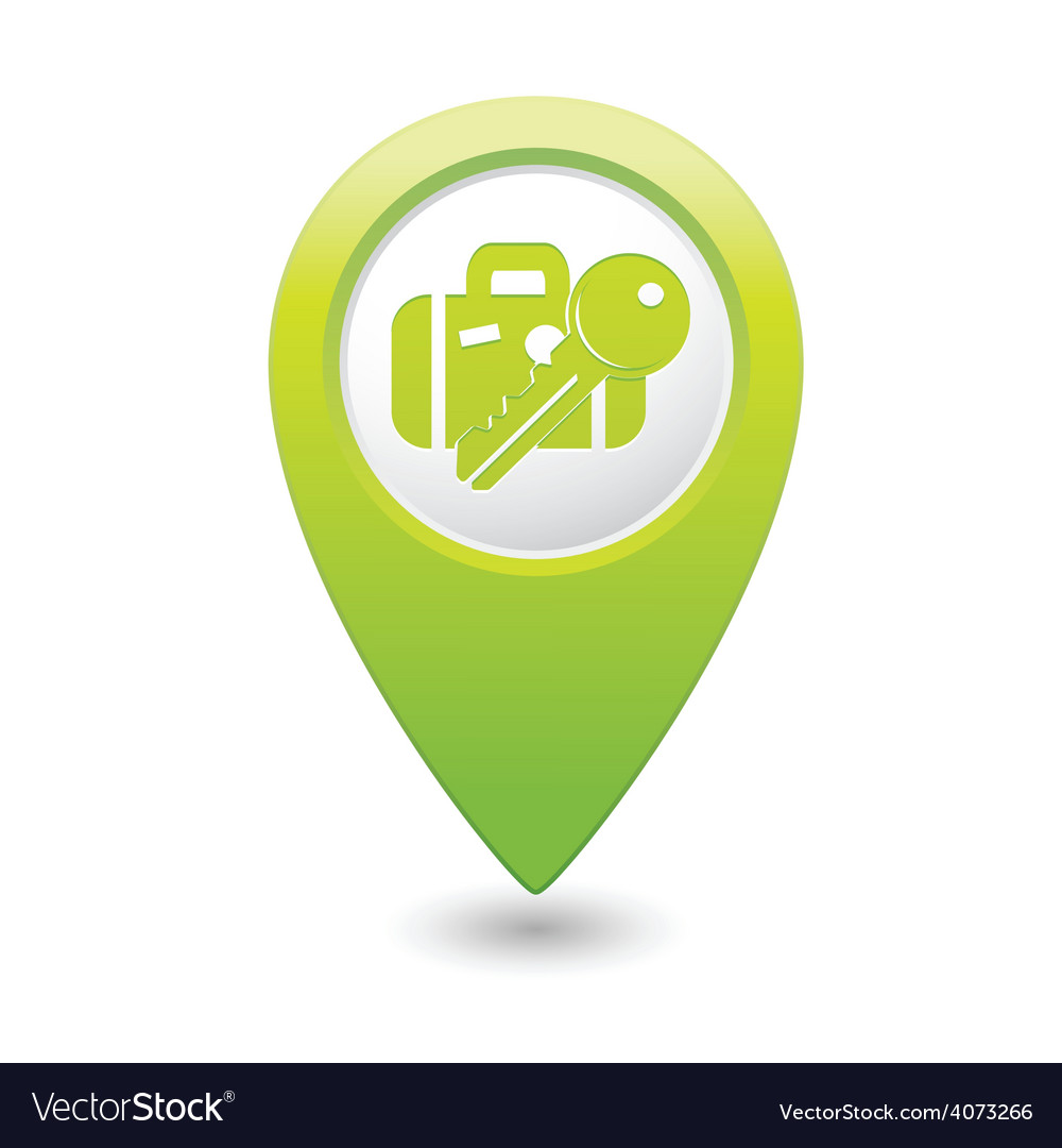Suitecase and key green map pointer vector | Price: 1 Credit (USD $1)