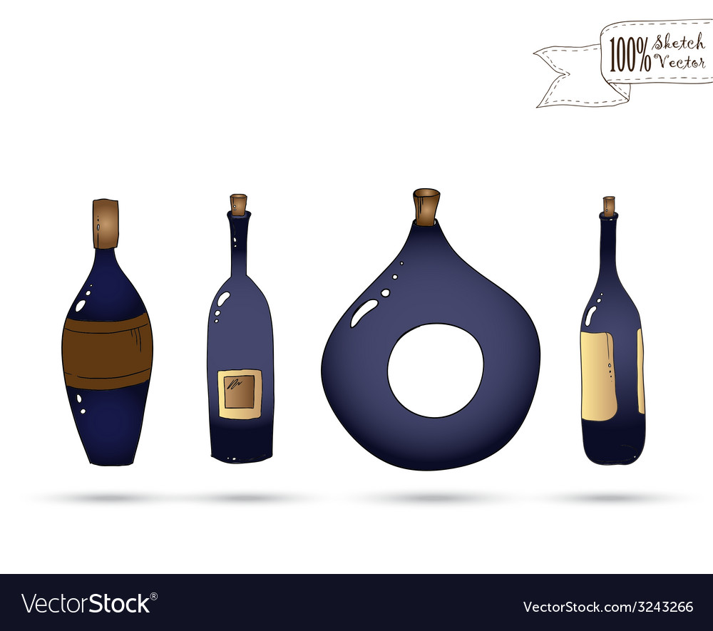 Wine bottles doodle style vector | Price: 1 Credit (USD $1)