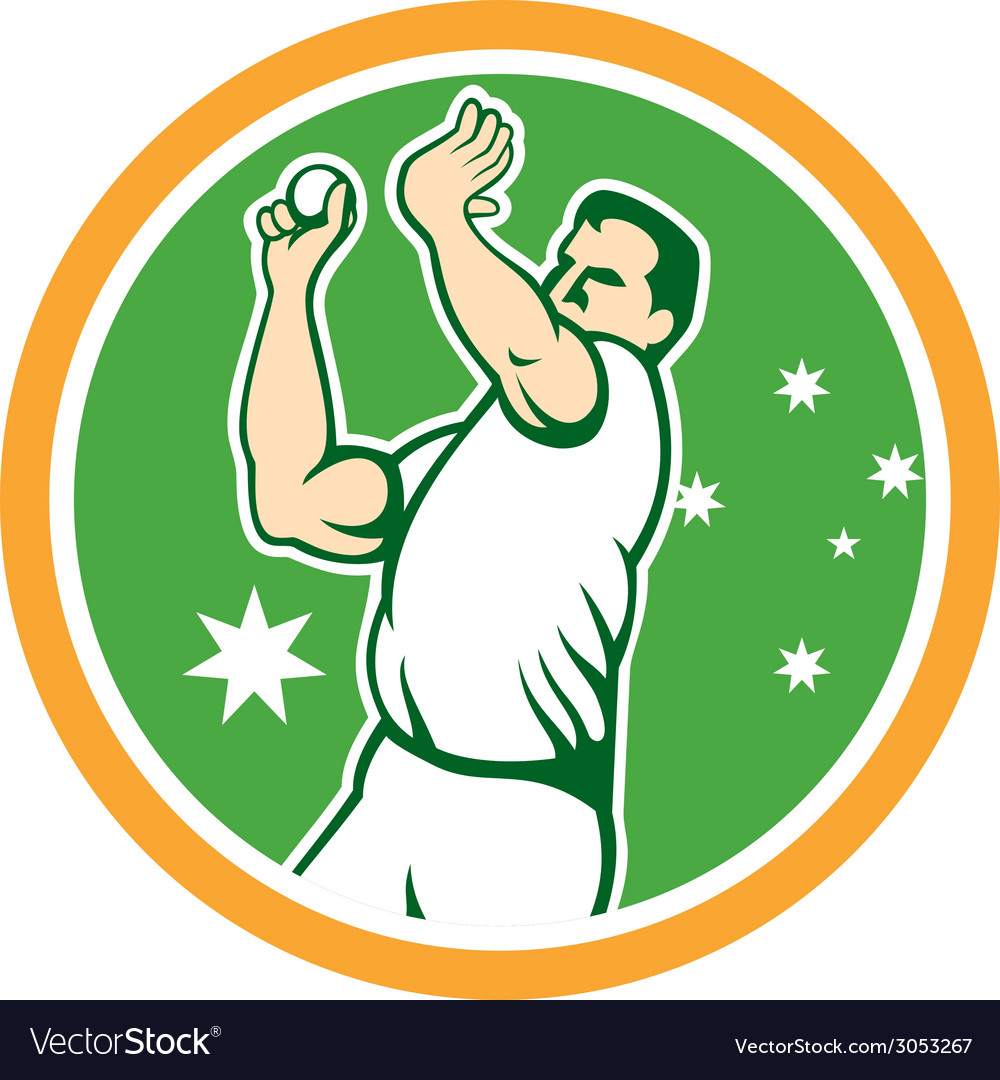 Australian cricket fast bowler bowling ball circle vector | Price: 1 Credit (USD $1)