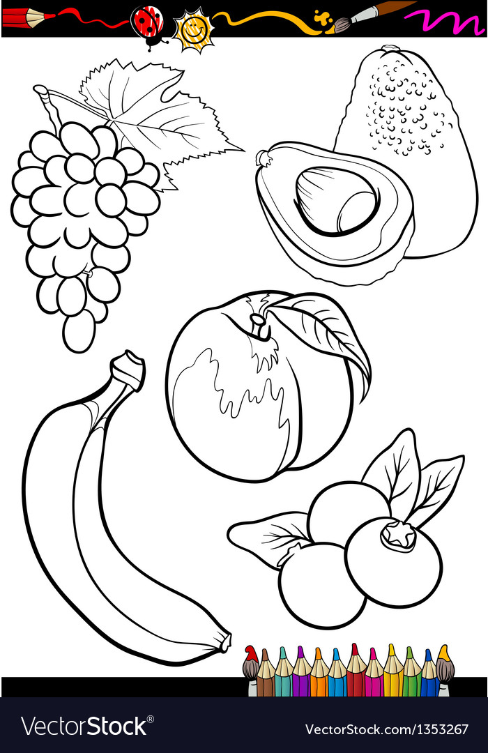 Cartoon fruits set for coloring book vector | Price: 1 Credit (USD $1)
