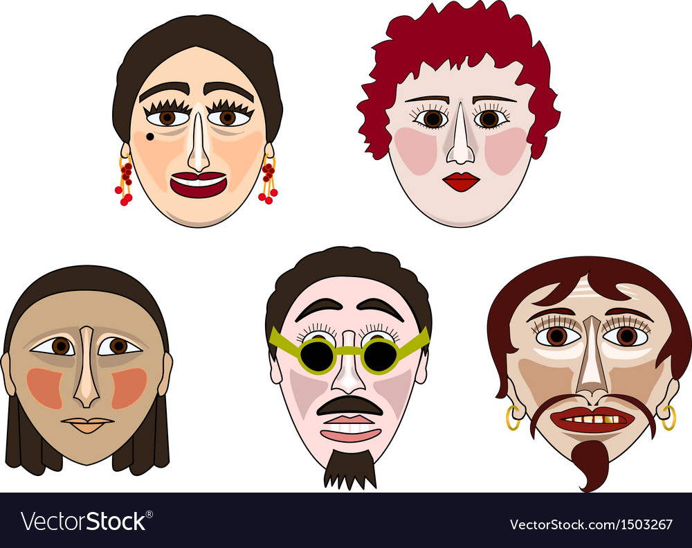 Five masks vector | Price: 1 Credit (USD $1)
