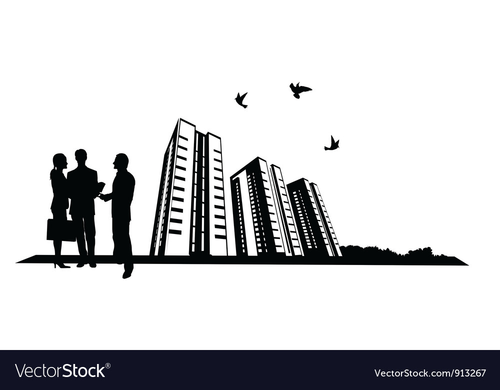 People and building site vector | Price: 1 Credit (USD $1)