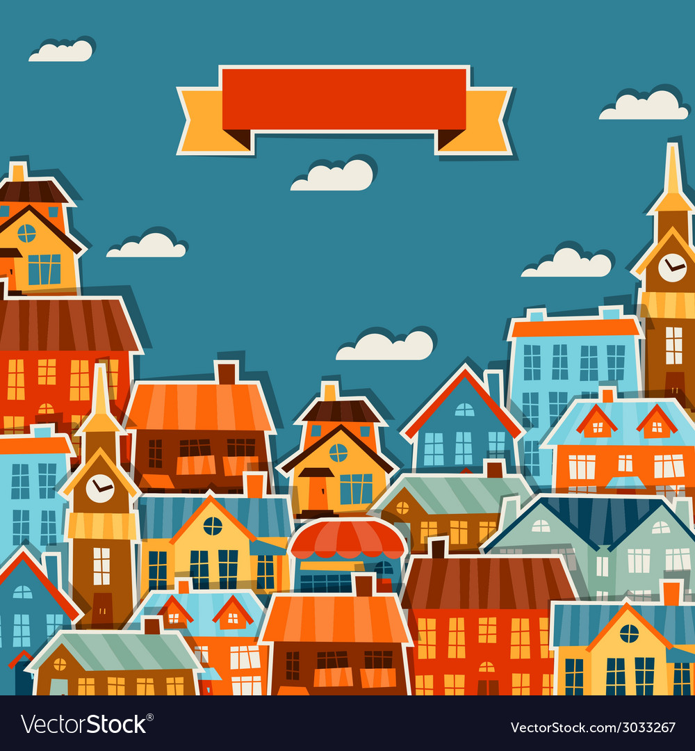Town background design with cute colorful sticker vector | Price: 1 Credit (USD $1)