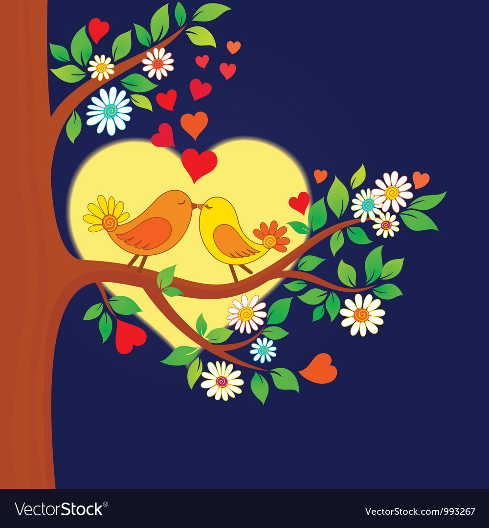 Two kissing birds on the tree vector | Price: 3 Credit (USD $3)