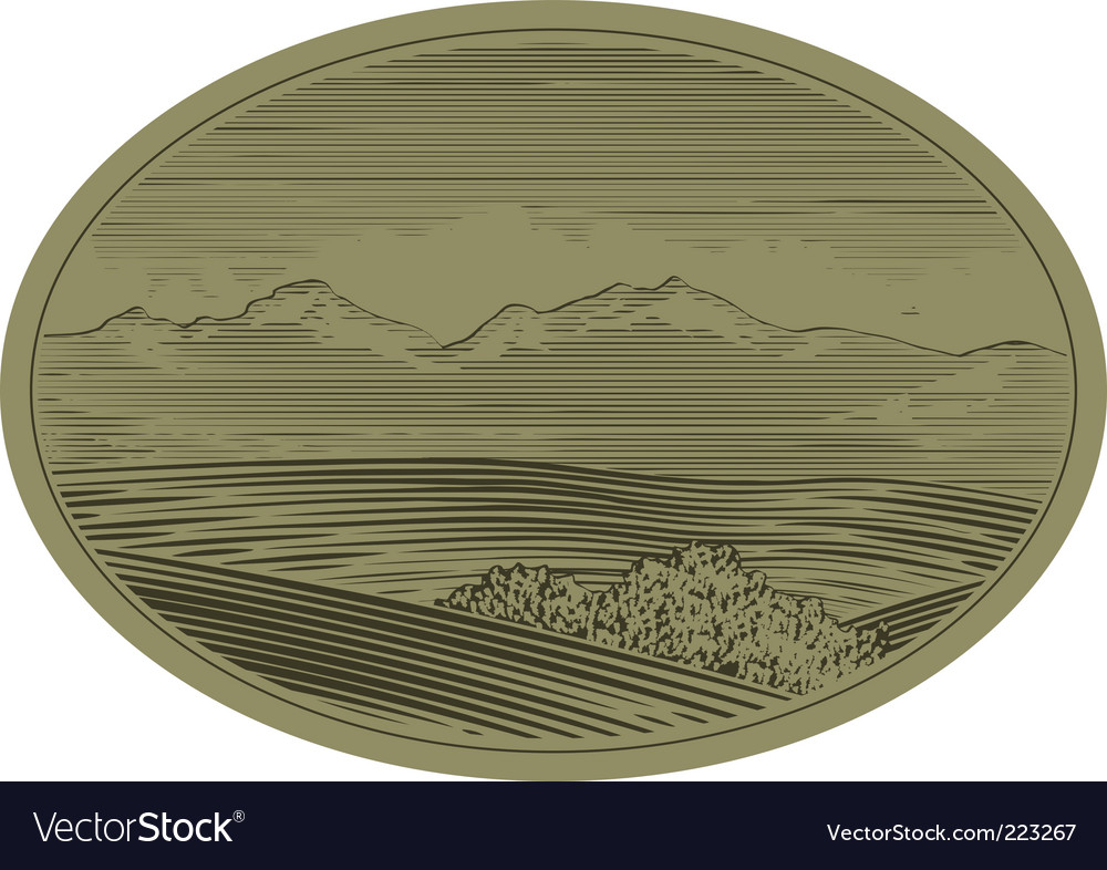 Woodcut mountain scene vector | Price: 1 Credit (USD $1)