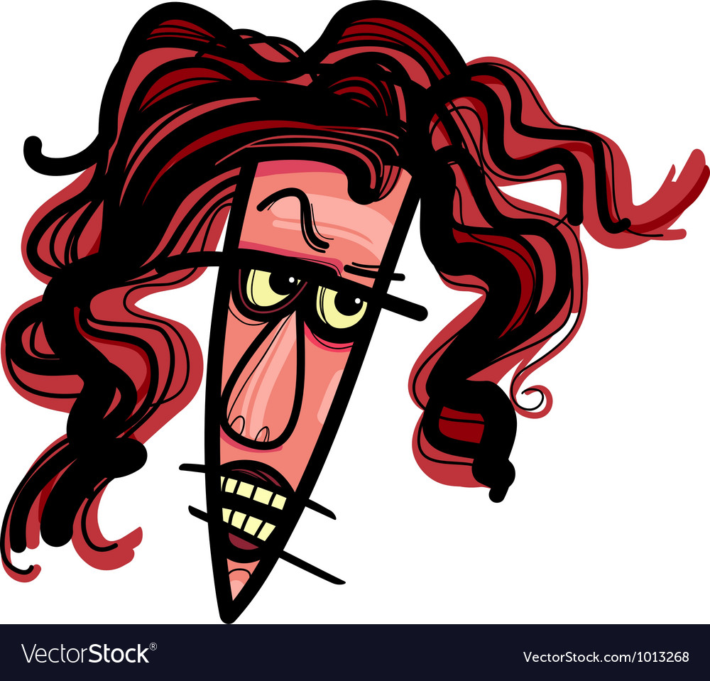 Angry woman caricature vector | Price: 3 Credit (USD $3)