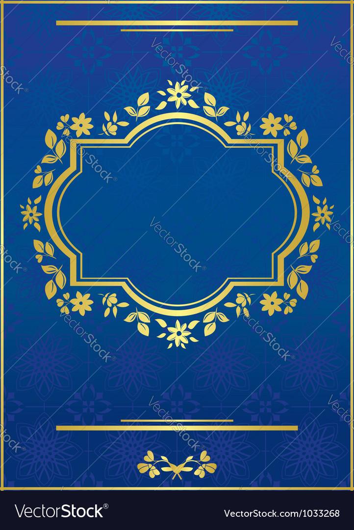 Blue elegant card with golden frame vector | Price: 1 Credit (USD $1)
