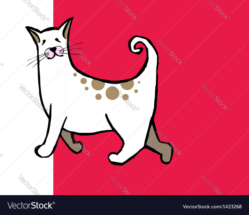 Cute curly tail cat vector | Price: 1 Credit (USD $1)