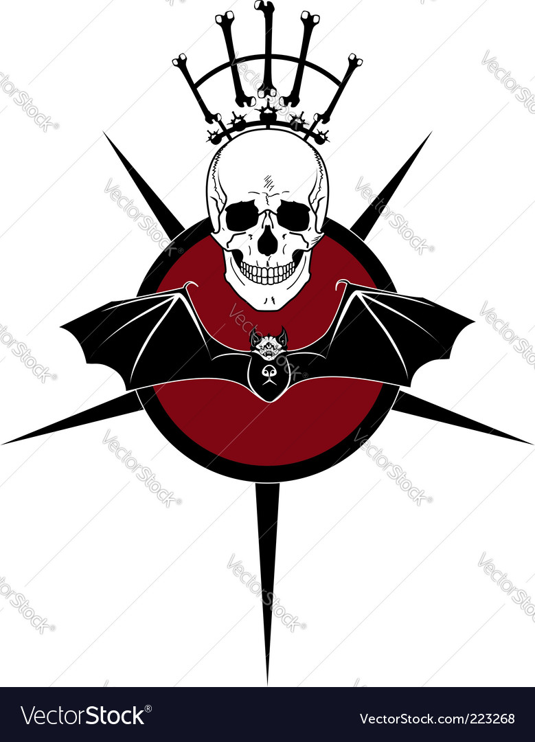 Deaths head and bat vector | Price: 1 Credit (USD $1)
