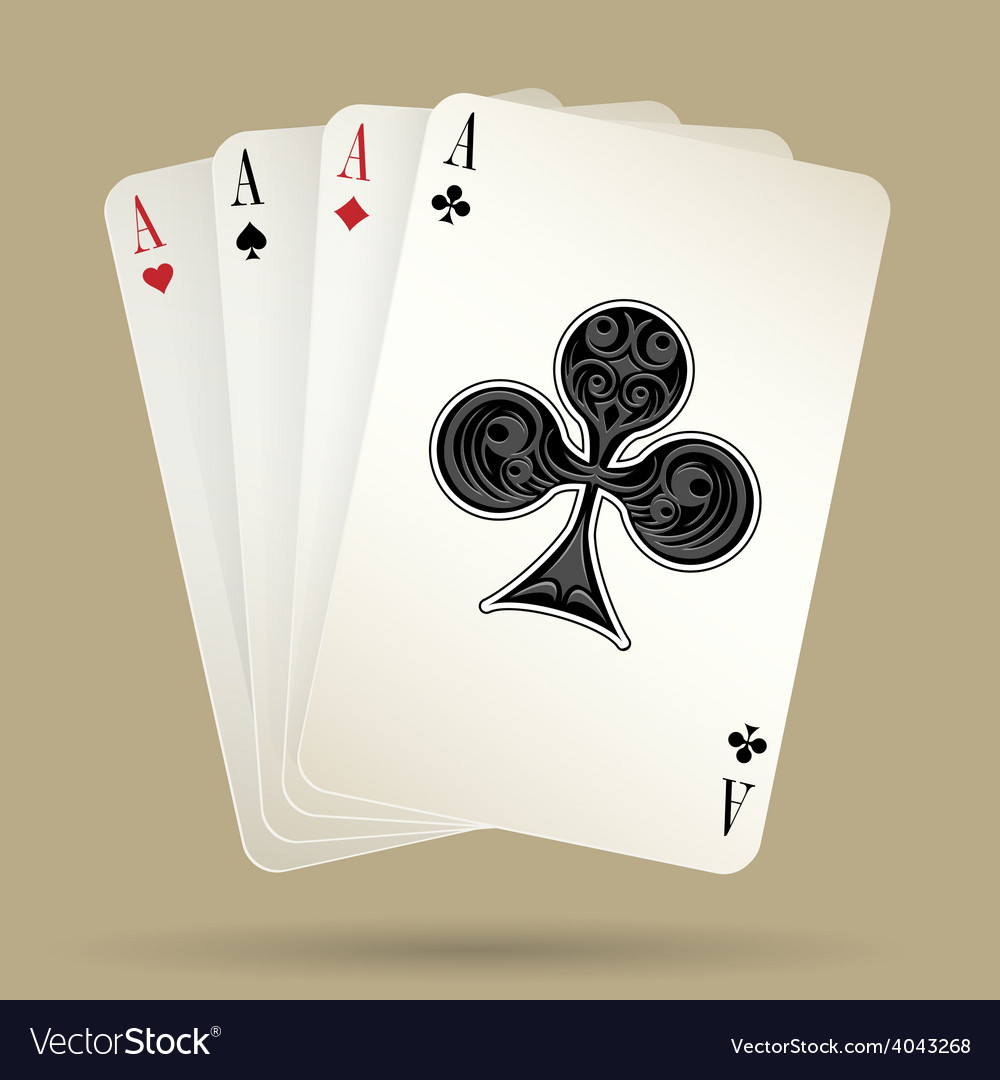Four aces playing cards suit winning poker hand vector | Price: 1 Credit (USD $1)