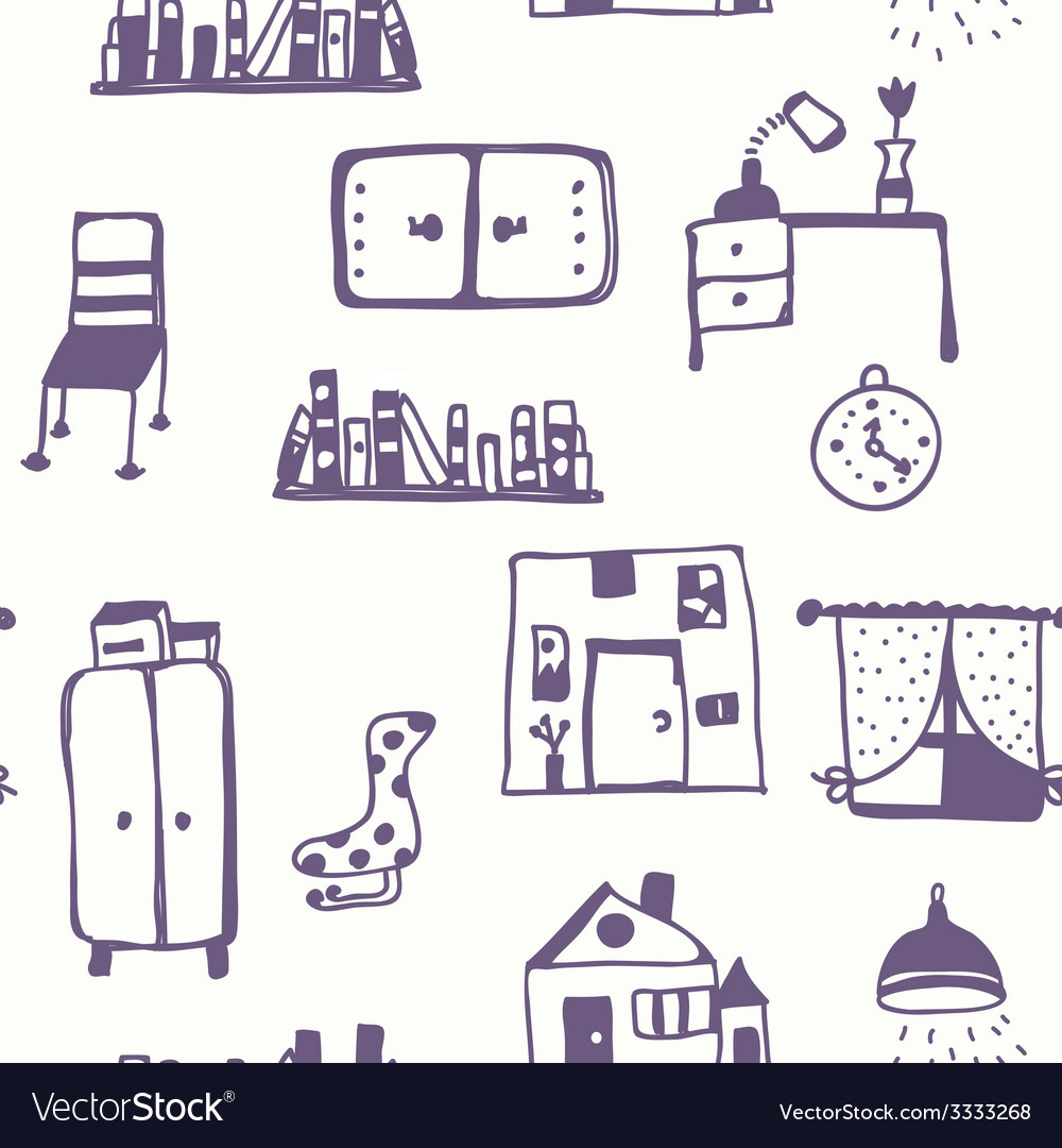Furniture set seamless pattern vector | Price: 1 Credit (USD $1)