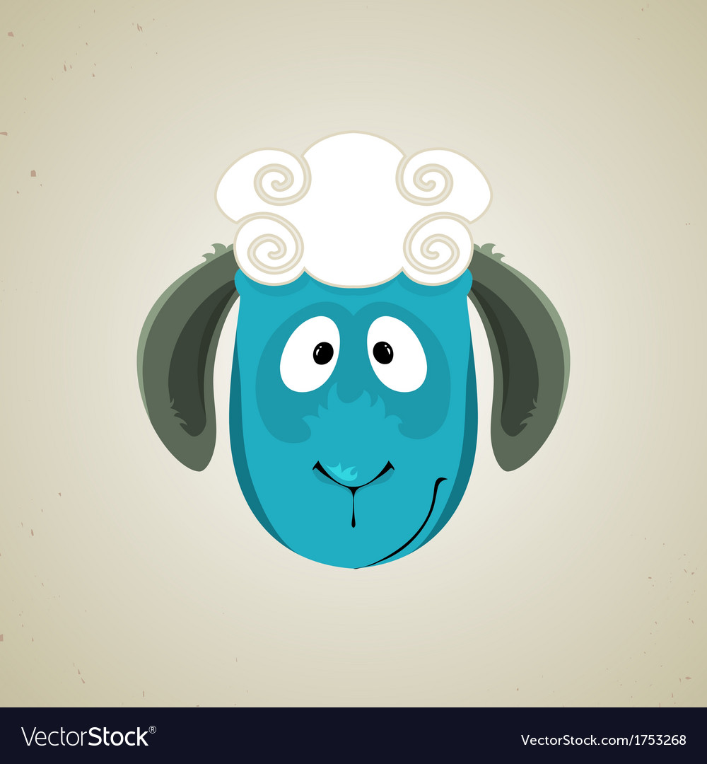 Head of the cute cartoon smiling sheep vector | Price: 1 Credit (USD $1)