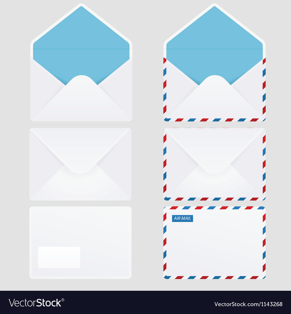 Set of 6 glossy envelope icons vector | Price: 1 Credit (USD $1)
