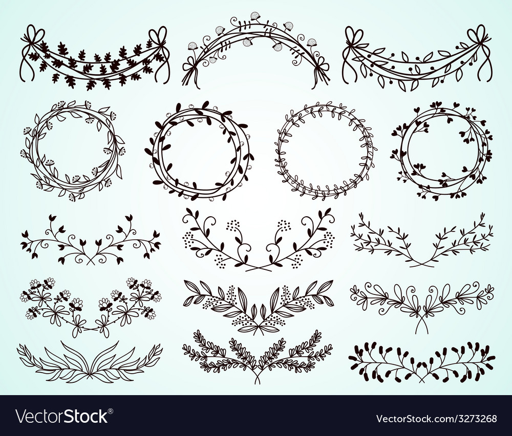 Set of handdrawn floral borders and wreaths vector