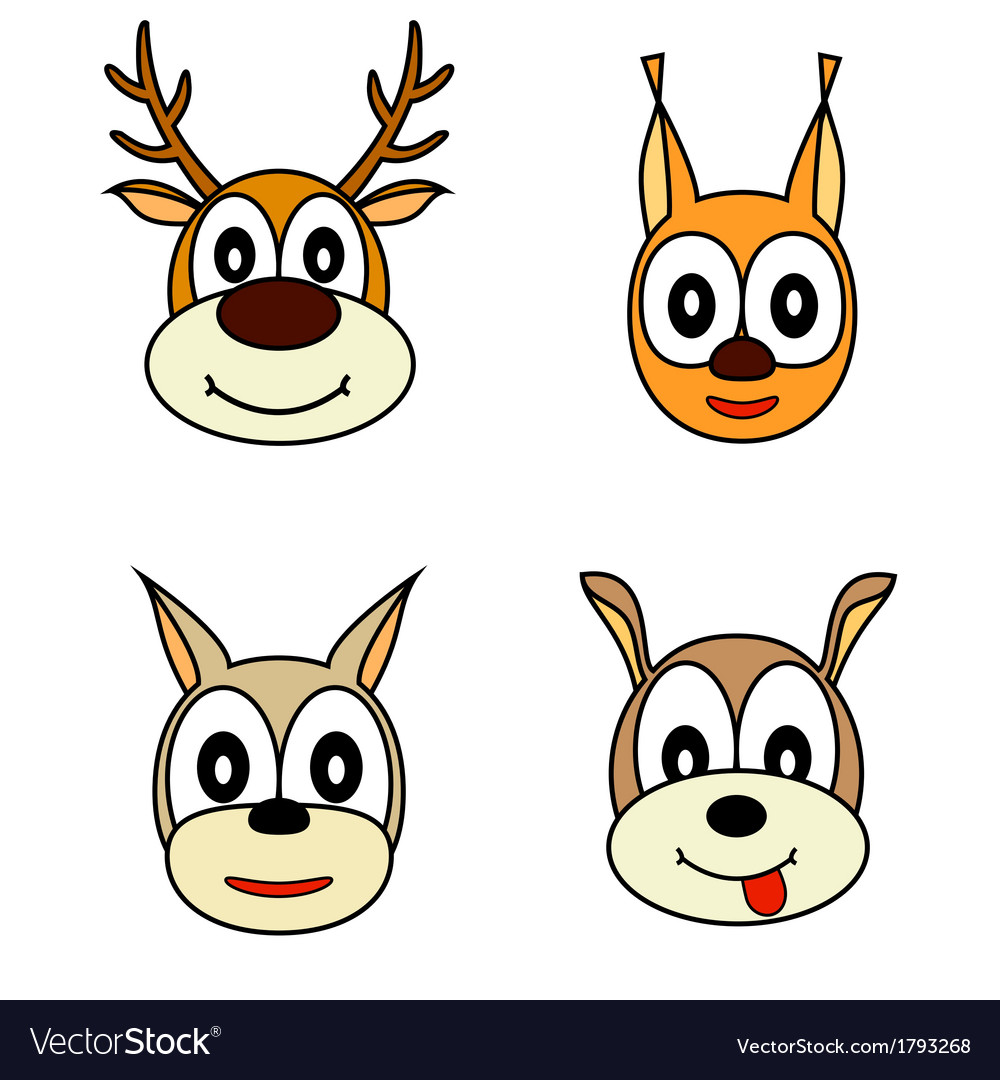 Set of muzzle the animals vector | Price: 3 Credit (USD $3)