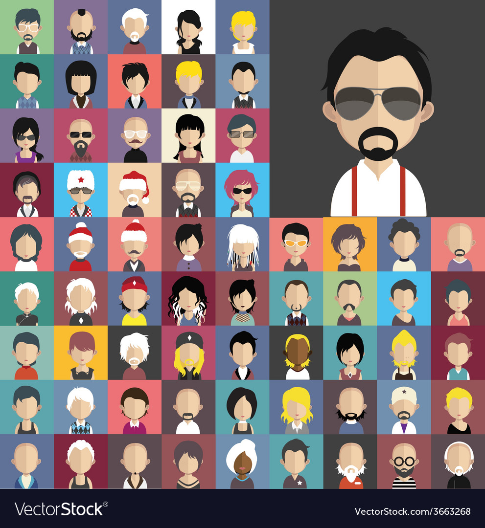 Set of people icons in flat style with faces vector   Price: 1 Credit (USD $1)