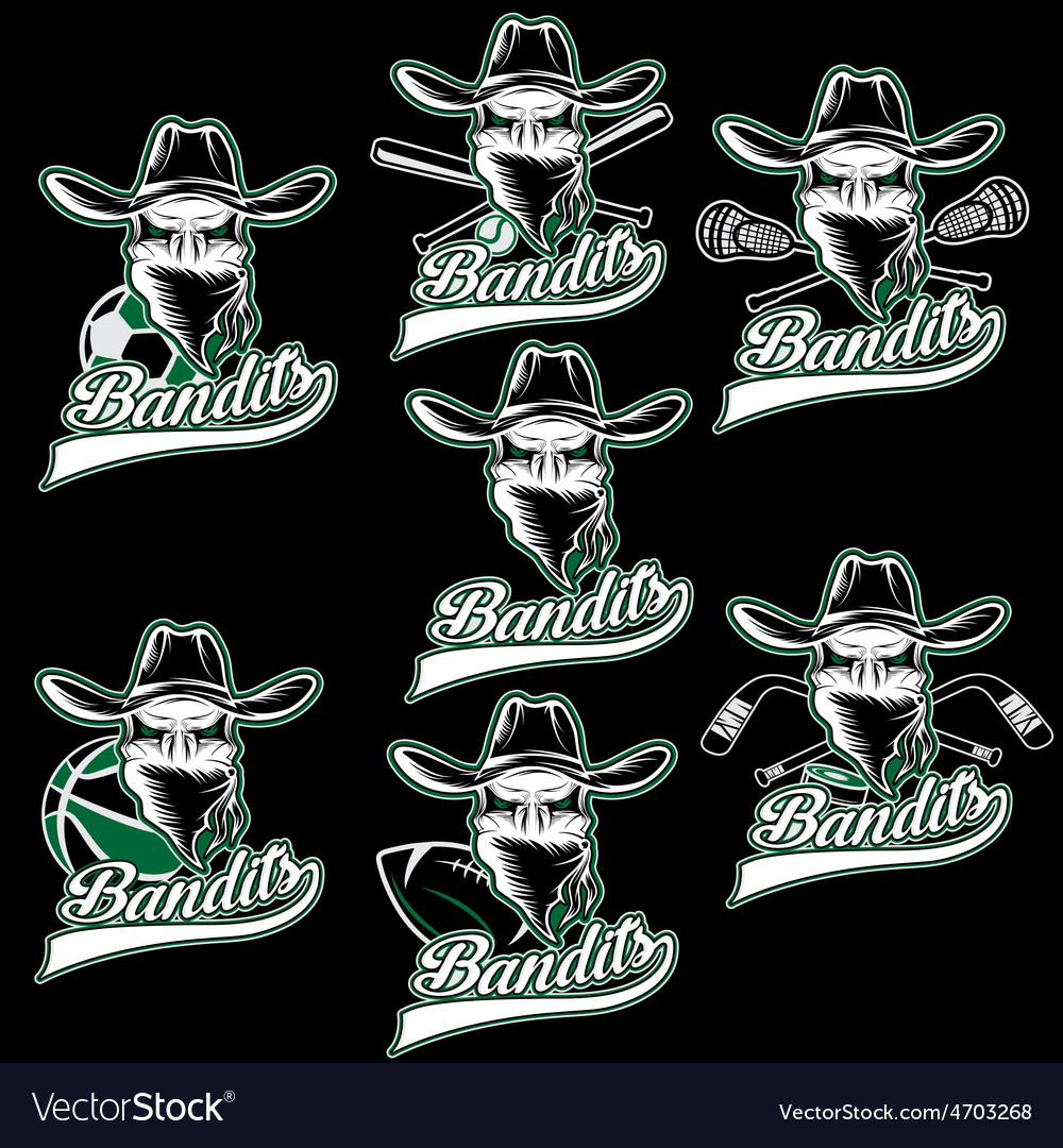 Set of skull bandit sports labels vector | Price: 1 Credit (USD $1)