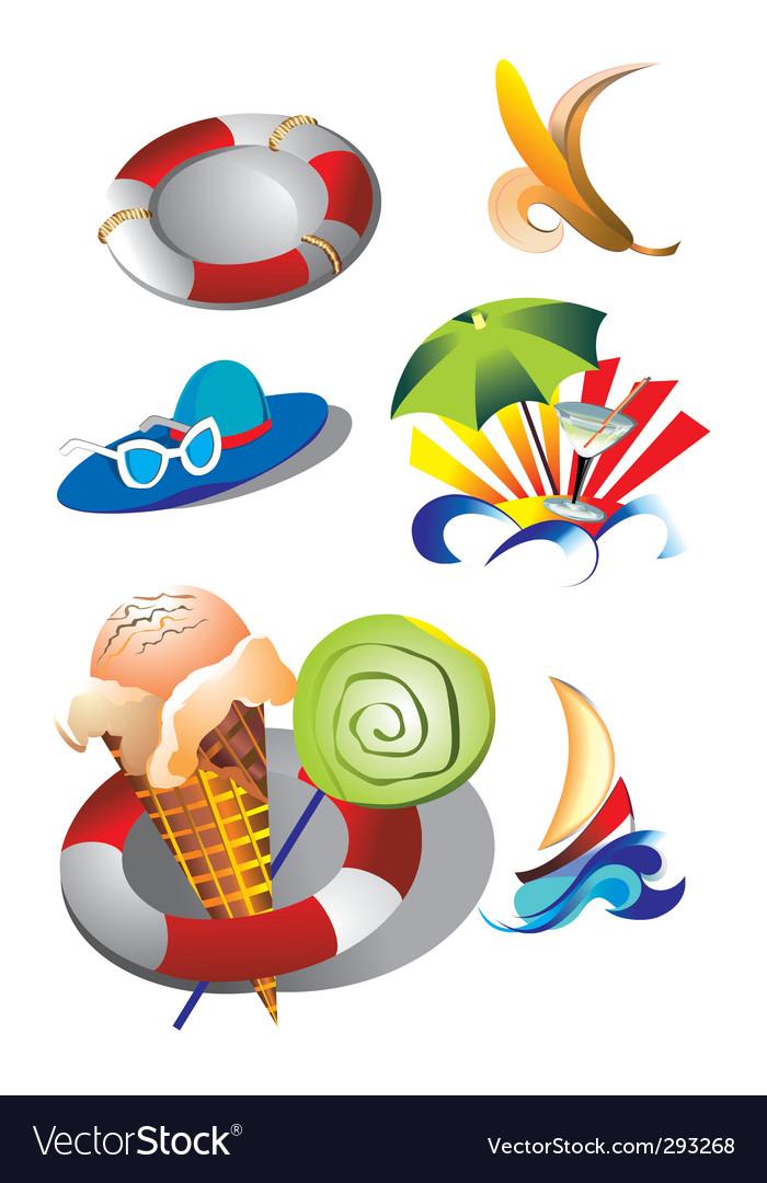 Summer beach travel clip art vector | Price: 1 Credit (USD $1)
