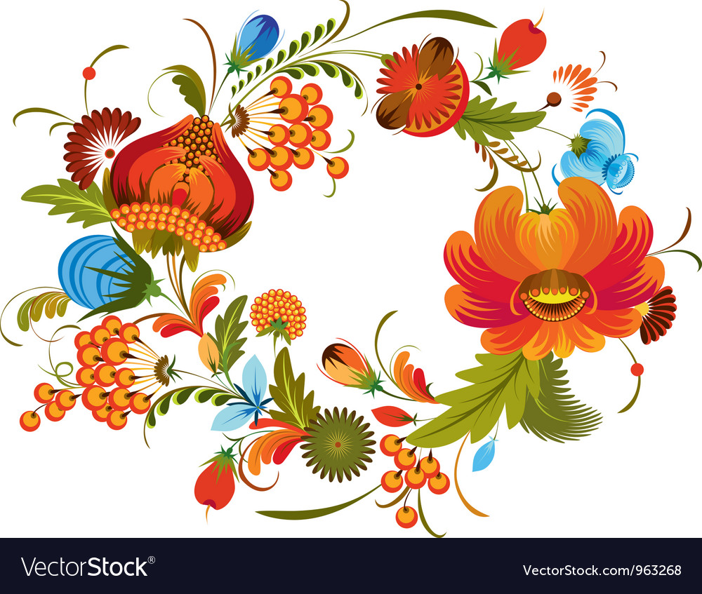 Traditional flower wreath isolated vector | Price: 1 Credit (USD $1)