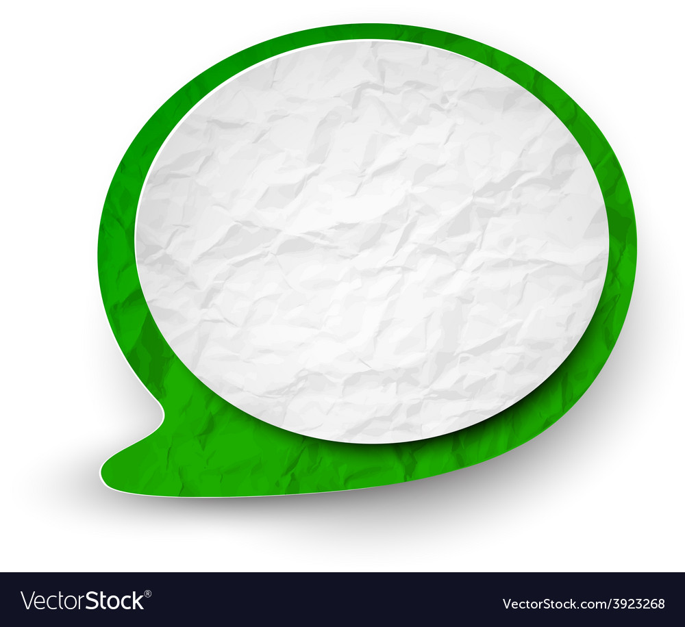 Wrinkled paper white-green speech bubble vector | Price: 1 Credit (USD $1)