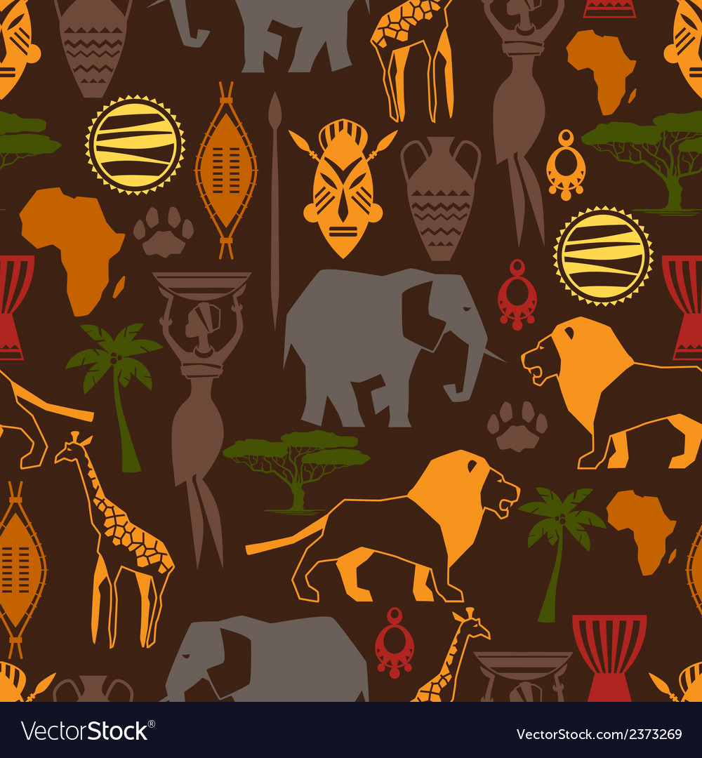 African ethnic seamless pattern with stylized icon vector | Price: 1 Credit (USD $1)