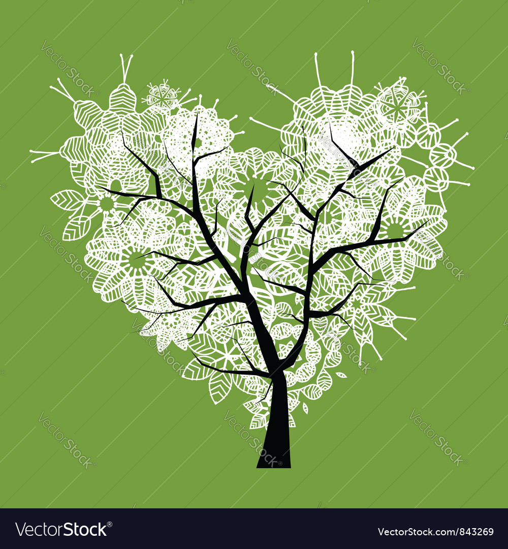 Art tree heart shape vector | Price: 1 Credit (USD $1)