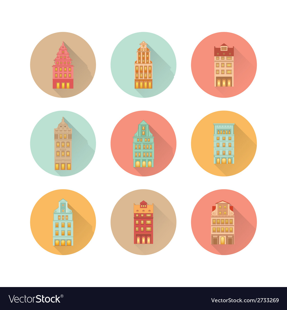 Europe house set vector | Price: 1 Credit (USD $1)