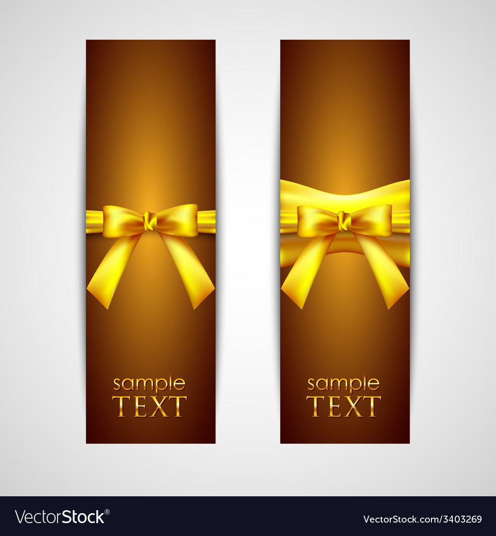 Greeting cards with yellow bows vector | Price: 1 Credit (USD $1)