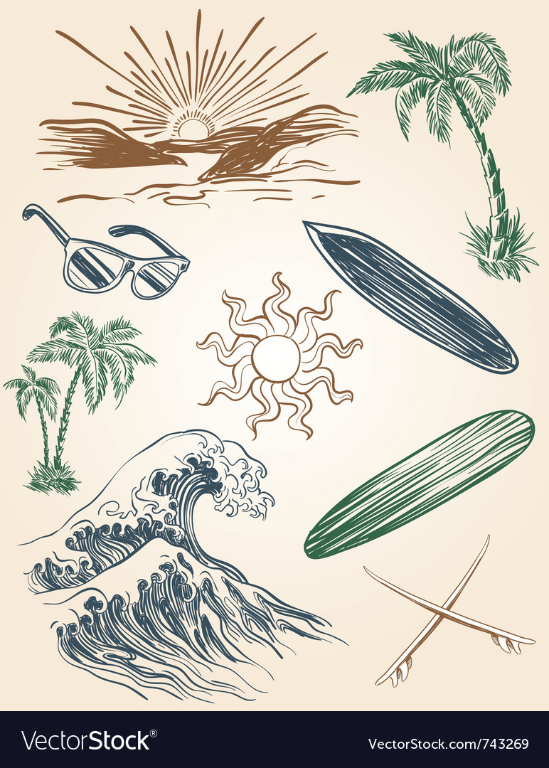 Hand drawn beach and surf set vector