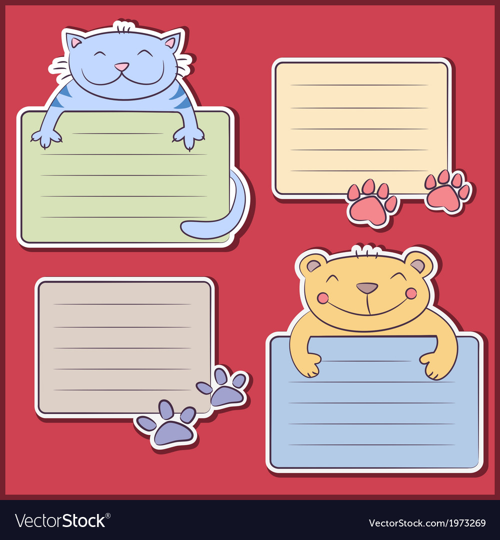 Message stickers with funny animals vector | Price: 1 Credit (USD $1)