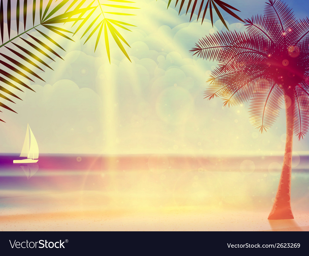 Vintage poster of tropical beach vector | Price: 1 Credit (USD $1)