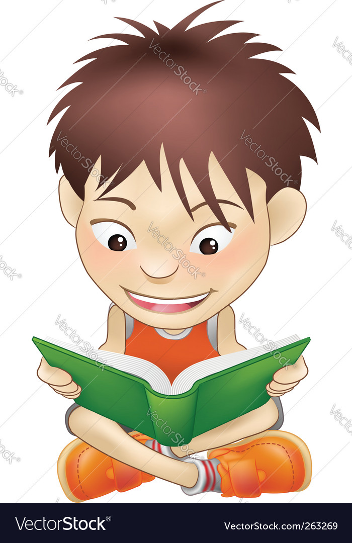 Young boy reading a book vector | Price: 1 Credit (USD $1)