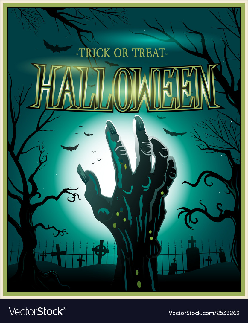 Zombie monster hand green halloween background vector | Price: 3 Credit (USD $3)