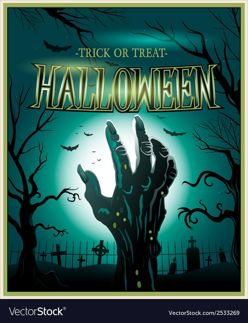 Zombie monster hand green halloween background vector | Price: 3 Credit (USD $3)