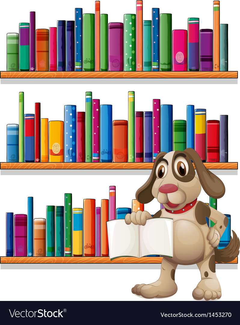 A dog holding a book in front of the bookshelves vector | Price: 1 Credit (USD $1)