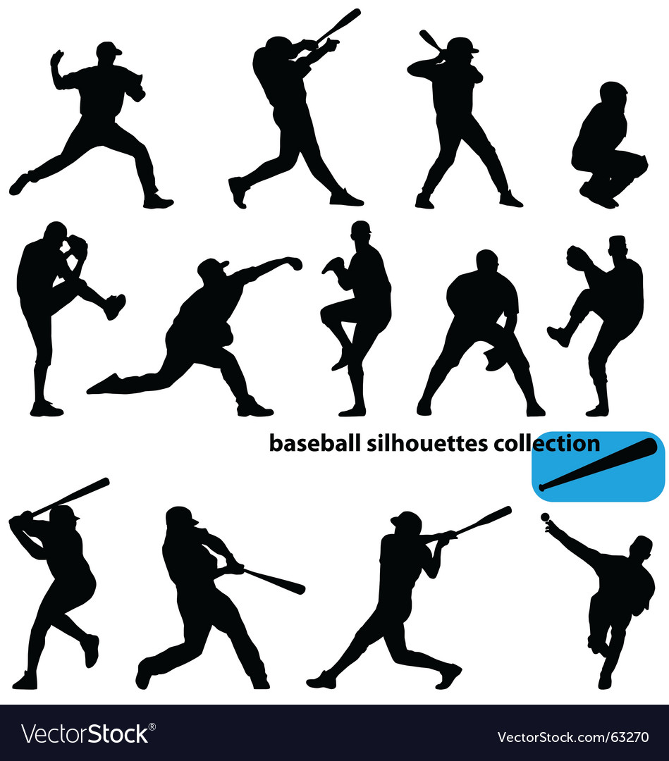 Baseball silhouettes vector | Price:  Credit (USD $)